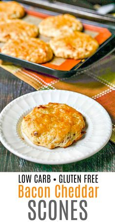 Low Carb Bacon Cheddar Scones - gluten free and only 3g net carbs! | MyLifeCookbook.com #scones #glutenfree #lowcarb #bacon #breakfast