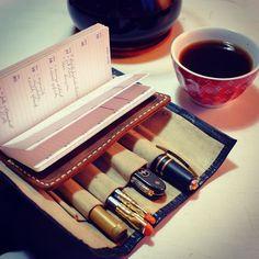 Wrap and go... #edc #todaystools #knife #victorinox #viscontipen #viscontihomosapiens #wordnotebooks #blackwing602 #bulletpencil #metalshopct #sak #chemex #pourover #homeroast #handground #metime #timeonmyown http://ift.tt/20b7rle
