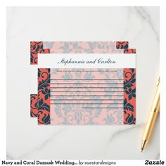Navy and Coral Damask Wedding Writable Advice Card Wedding Planner, Destination Wedding, Wedding Advice Cards, Damask Wedding, Styling A Buffet, The Wedding Date, Getting Drunk, Wedding Preparation, Happy Marriage