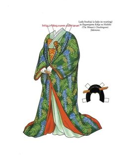 Kabuki Costumes Paper Dolls by Ming-Ju Sun - Dover Publications, Inc., Plate 4 of Larp, Paper Doll Costume, Kabuki Costume, Body Art Photography, Costumes Around The World, New Year's Crafts, Japanese Paper, Japanese Kimono, Vintage Paper Dolls