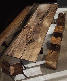 meubles en bois brut, set de table avec chaises et banc en bois brut