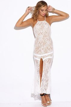 WHITE BAROQUE LACE SLIT BACKLESS FORMAL EVENING MAXI DRESS