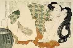 Two Lovers  Katsushika Hokusai, The Adonis Plant (Fukujusô) Woodblock print, from a set of 12, ôban ca. 1815