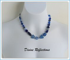 Blue Hand Knotted Necklace Gifts For Her by DivineReflections