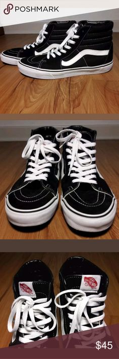 Mens Vans Sk8 Sneaker Size 10 Vans Sk8 Men's Shoes Size 10 High Top Black White Sneakers Skateboard Suede/Canvas EUC  Pre-owned in Excellent condition.  New Like with minor Sole & Shoe Lace discoloration from normal Wear.  Please view all images before purchasing.  Thank you for Looking & Sharing Happy Poshing😄💗 Vans Shoes Sneakers