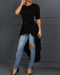 Solid Knot Front Dip Hem Casual Top We Miss Moda is a leading Women's Clothing Store. Offering the newest Fashion and Trending Styles. Trend Fashion, Fashion Outfits, Womens Fashion, Cheap Fashion, Fashion Fashion, Fashion Online, Fashion Ideas, Winter Fashion, Mode Hijab