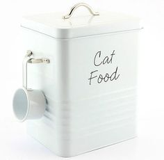 Cat food storage container tin box & ideal dry food white View more on the LINK: www. Pet Food Storage, Stuffed Animal Storage, Food Storage Containers, Diy Stuffed Animals, Diy Storage, Pet Food Container, Cat Care Tips, Tin Boxes, Cat Food