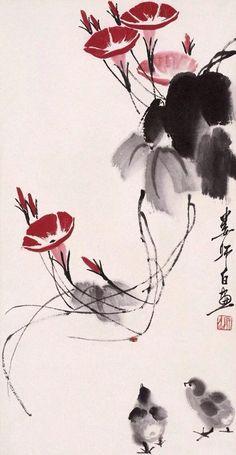 Chinese Painting Flowers, Japanese Ink Painting, Sumi E Painting, Japanese Watercolor, China Painting, Watercolor Art, Art Chinois, Japon Illustration, Botanical Illustration