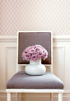 Classic Style. Thibaut's Merrill geometric in lavender at http://lelandswallpaper.com Width: 27 in, Repeat: 2.25 in, unpasted, washable, strippable. Available in 10 colors. $42 per single roll.  Order today http://lelandswallpaper.com/store/Display:Show:Contact