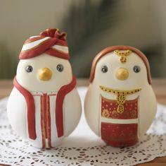 Custom Wedding Cake Topper - Large Hand Painted Love Birds in Indian Wedding Dress