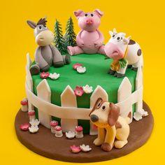 Ideas Birthday Girl Cake Animal For 2019 Farm Birthday Cakes, Baby First Birthday Cake, Animal Birthday Cakes, Birthday Cake Girls, 2nd Birthday, Animal Cakes For Kids, Farm Animal Cakes, Dinotrux Cake, Jungle Cake