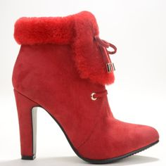 99.00$  Watch now - http://aliz3u.worldwells.pw/go.php?t=32495656159 - Fashion Red Suede Leather Women's Chunky Heel Ankle-high Winter Boots With Knot Slip-On sapatos femininos 2015 Thin High Heels 99.00$
