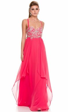 Watermelon Long Evening Dress.  This vaporous full length dress is perfect for bridesmaids or any special occasion. It features a gorgeous rhinestone motif.