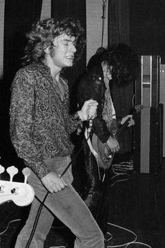 Robert Plant and Jimmy Page of Led Zeppelin performs on stage at Gladsaxe Teen Club on March 17th 1969 in Copenhagen Denmark
