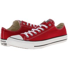 Converse Chuck Taylor All Star Seasonal Ox Women's Shoes, Red ($28) ❤ liked on Polyvore featuring shoes, sneakers, converse, red, metallic lace up shoes, converse trainers, star shoes, laced up shoes and lacing sneakers