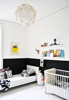 Cush and Nooks: A Little Piece of Scandinavia in Scotland - black and white two tone kids bedroom / nursery