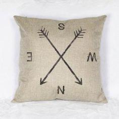 SHARE & Get it FREE | Simple Linen Compass Pattern  Decorative Pillowcase…