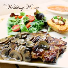 Pan Grilled Chicken with Mushroom Sauce