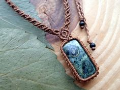Kambaba jasper macrame pendant,macrame necklace,micro macrame,macrame jewelry,macrame stone,micromacrame pendant,jasper cabochon,