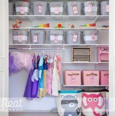 Organized Kid's Toy Room Closet by NEAT Method, Pottery Barn Kids Canvas Storage Bins