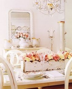 white with roses and crystal