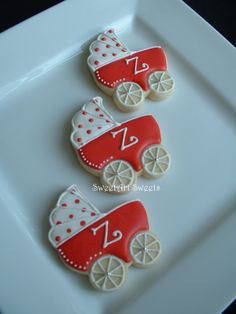 Baby Shower Cookies~         By Sweet Art sweets, #, red baby carriage
