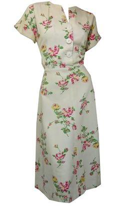 Darling Rose Print White Cotton Pique Dress circa 1940s Dorothea's Closet Vintage Dress