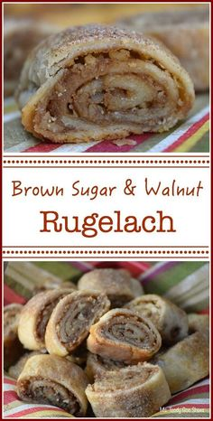 Brown Sugar and Walnut Rugelach.and The Secret Life of Bees Brown Sugar and Walnut Rugelach: You won't believe how easy these are to make! Köstliche Desserts, Delicious Desserts, Yummy Food, Jewish Desserts, Hungarian Desserts, Healthy Food, German Desserts, Jewish Food, Plated Desserts