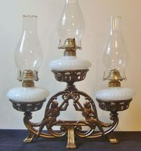 3 Kerosene Lamp stand (looks like brass but could be gilded cast iron)