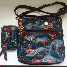 Sakroots Crossbody Bag with Matching Phone Wallet Sakroots Crossbody Bag with beautiful blue floral print. Comes with matching wallet/phone holder that can also be used as a small purse or wristlet. Sakroots Bags Crossbody Bags