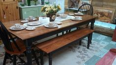 Old Farm Tables in Georgia | when i think of farm tables i think of a simple natural wood table top ...