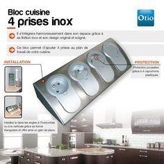 Enexo - 760070 - Bloc cuisine inox 4 prises 16a avec clapet: Amazon.fr: 64.90 €