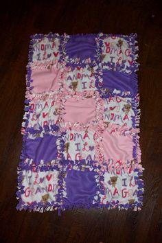 I love Grandma fleece quilted no sew blanket  27x42 via Etsy