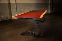 Padouk tafelblad op double ripcurle tafelpoten        #edgyfurniture #tafels #designtafel #designtisch #designtable #studiopeer