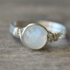Moonstone Wire Wrapped Ring Moonstone Gemstone by BlueSoulDesigns