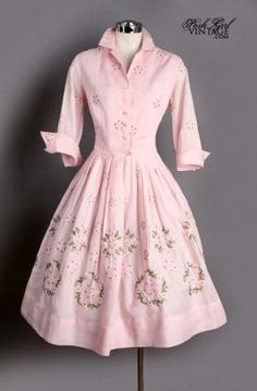 Can you imagine cooking and cleaning and gardening in this dress? Vintage Pink Cotton Embroidered French Cuff Dress-for when I become June Cleaver ; Vintage Mode, Vintage Pink, Vintage Style, 1950s Fashion, Vintage Fashion, Modest Fashion, Fashion Dresses, Vintage Dresses, Vintage Outfits