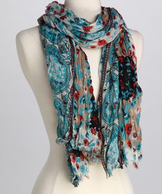 Take a look at this Turquoise Floral Scarf by Bruges on #zulily today!