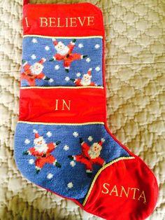 I Believe In Santa Stocking Completed/Finished Needlepoint Christmas stocking
