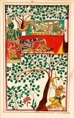 The death of Krishna and Balarama.  Karaikal (Tanjore), between 1742 and 1758. Krishna went to the desert with Arjuna and Balarama; Krishna lying under a tree receives an arrow in the heel (his vulnerable part), driven by the hunter Jara, who thought he saw a deer. Krishna dies and goes to Vaikuntha (heaven of Vishnu); Balarama dies of his sadness and takes the form of a five-headed snake (Ananta) to shelter Krishna.