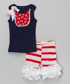 This Red Anchor Bib Tank & Ruffle Shorts - Infant, Toddler & Girls by Ruby and Rosie is perfect! #zulilyfinds