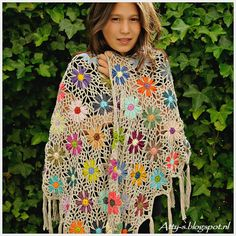 Catona Crochet Flower Shawl By Atty-s - Free Crochet Pattern - (atty-s.blogspot)