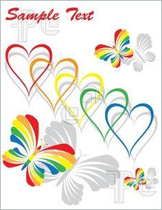 Rainbow Heart Clip Art | Rainbow Hearts And Butterflies Illustration