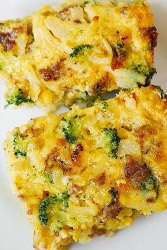 Hash Brown, Broccoli, Sausage and Egg Breakfast Casserole: Breakfast Casserole with shredded hash brown potatoes, broccoli, cheddar cheese, sausage and eggs.