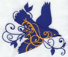 BLUEBIRD FILIGREE large  MACHINE EMBROIDERED by AzEmbroideryBarn, $18.50