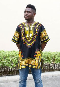 Mens African Dashiki Shirt Vintage kaftan Tribal Print Black & Yellow