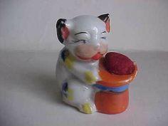 Vintage Japan Lusterware PIN CUSHION dog top hat ceramic sewing Figurine