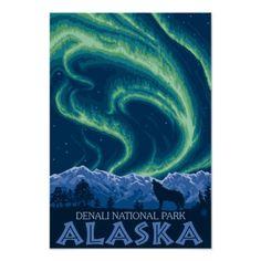 人生で一度は見たいオーロラと人間がちっぽけに見える大自然。アラスカモチーフのポスターは、いつも心に大自然を抱いているあなたに。 #zazzle #オーロラ #アラスカ