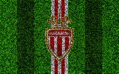 Download wallpapers AS Monaco FC, 4k, football lawn, logo, French football club, grass texture, emblem, red white lines, Ligue 1, Monaco, France, football
