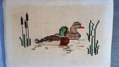 60s Needlepoint with Ducks Duck Wall Hanging Mid by DameWhoFrames