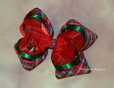 """39 Patterns! Large Sheer, Satin & Plaid Layered Holiday Twisted Boutique Hair Bow - 5.5"""" Dressy RoseyBow® Stacked Boutique Hair Bow"""